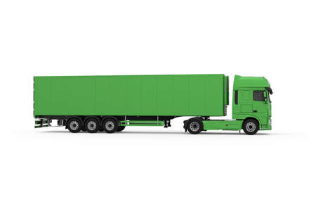 Generic eco-friendly green truck with semi trailer photo realistic isolated 3D Illustration - right view.