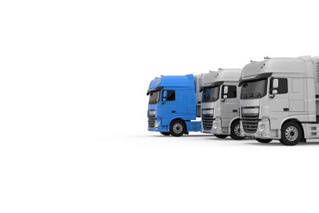 Generic electric blue semi truck with semi trailer moves forward among monochrome grey models photo realistic isolated 3D Illustration.