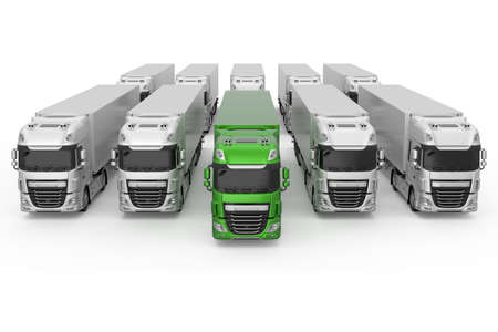 Generic eco-friendly green truck with semi trailer among monochrome grey models photo realistic isolated 3D Illustration - front high angle view.