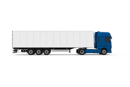 Generic blue truck with white refrigerated semi trailer photo realistic isolated 3D Illustration - right side.