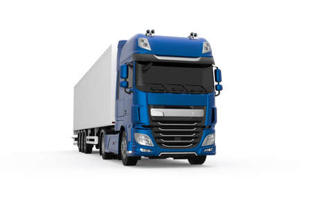 Generic blue truck with white semi trailer photo realistic isolated 3D Illustration - front right low angle view. Foto de archivo