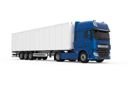 Generic blue truck with semi trailer photo realistic isolated 3D Illustration - front right view.