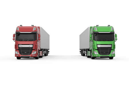 Two generic trucks with semi trailers: one green eco-friendly and one red - photo realistic isolated 3D Illustration - front view.