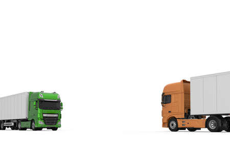 Generic eco-friendly green semi truck with semi trailer in opposite to orange model photo realistic isolated 3D Illustration.