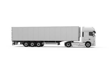 Generic monochrome grey  truck with semi trailer photo realistic isolated 3D Illustration - right view.