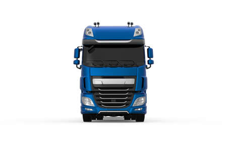 Generic blue truck with semi trailer photo realistic isolated 3D Illustration - front low angle view. Foto de archivo