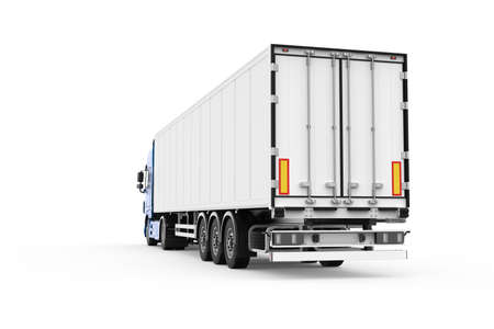 Generic blue truck with white semi trailer photo realistic isolated 3D Illustration - back left low angle view. Foto de archivo