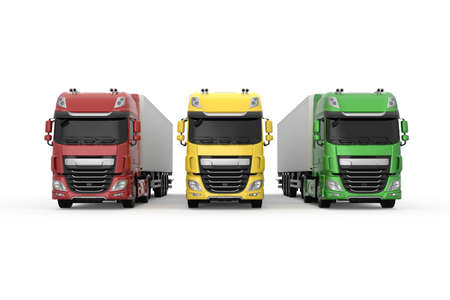 Colorful generic trucks with semi trailers photo realistic isolated 3D Illustration - front view.
