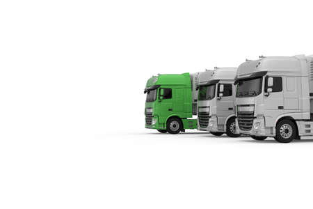 Generic eco-friendly green semi truck with semi trailer moves forward among monochrome grey models photo realistic isolated 3D Illustration. Foto de archivo