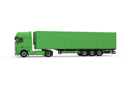 Generic eco-friendly green truck with semi trailer photo realistic isolated 3D Illustration - left view.