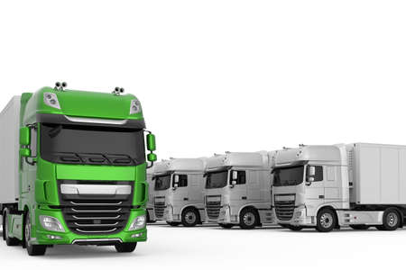 Generic eco-friendly green semi truck among monochrome grey trucks with semi trailers photo realistic isolated 3D Illustration.