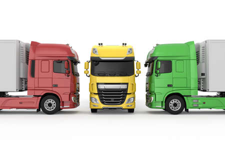 Colorful generic trucks with semi trailers photo realistic isolated 3D Illustration.