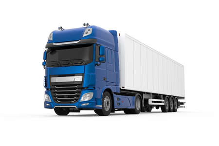 Generic blue truck with semi trailer photo realistic isolated 3D Illustration - front left low angle view.