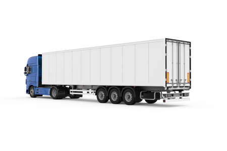 Generic blue truck with semi trailer photo realistic isolated 3D Illustration - back left view. Foto de archivo