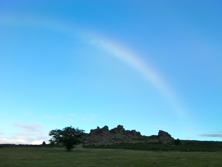 rock formation: Rainbow over Rock Formation in Dartmoor England