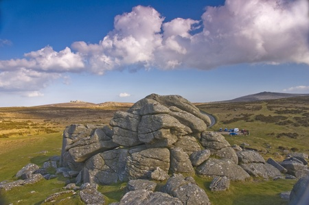 Dartmoor England Rocks with clouds