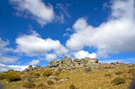 Dartmoor England Rocks with clouds photo