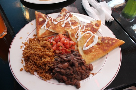 Quesadilla  with Beans and Rice