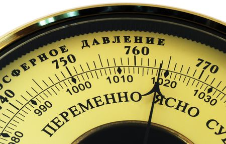 aneroid: Aneroid barometer Russian version isolated on white