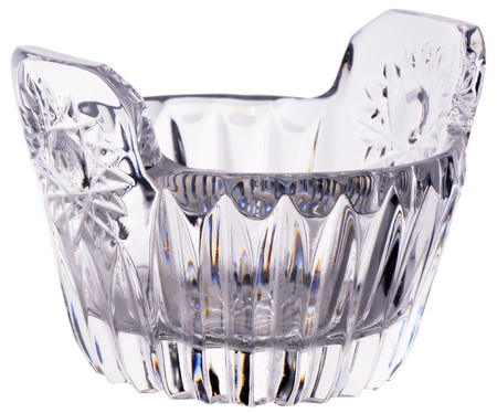 cutglass: Empty decorative cut-glass bowl, close-up, isolated on white Stock Photo