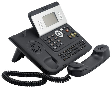 Digital office telephone set with LCD display, 6 soft keys, with  off-hook handset isolated on white