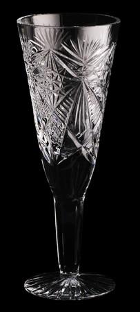 cutglass: Empty decorative tall wine cut-glass isolated on black