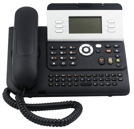 Digital office telephone set with LCD display, 6 soft keys, isolated on white