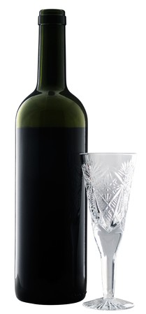 cutglass: Wine bottle and empty tall cut-glass isolated on white