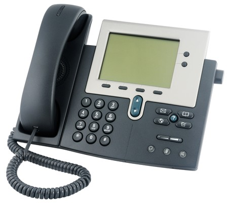 handsfree phone: IP office telephone set with LCD display isolated on white