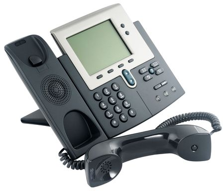 Office digital telephone set,  off-hook, isolated on white