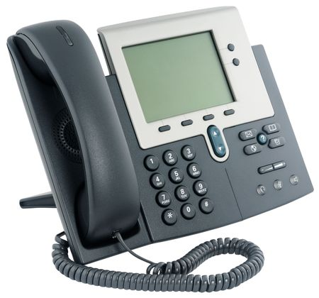 Office digital telephone set,  on-hook, isolated on white Stock Photo