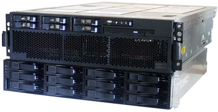 Rack mounted blade server and system storage isolated on white Stock Photo - 4785867