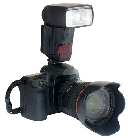 reflex: Moderna fotocamera reflex con flash esterno isolato su bianco Archivio Fotografico