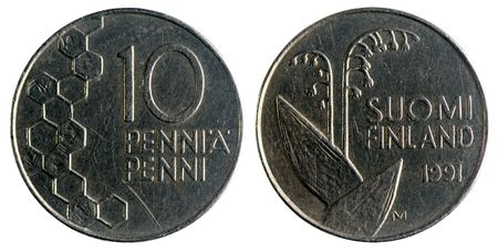 obverse: Finnish coin, 1991 year, 10 pennies, obverse and reverse, isolated on white