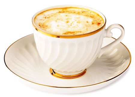 chicory coffee: Cup of cappuccino coffee with chicory over white background