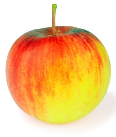 rennet: Red with yellow ripe apple over white background