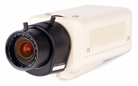supervision: Supervision video camera isometric view over white background