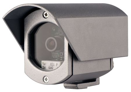 supervision: Supervision video camera in metal case isometric view isolated on white Stock Photo