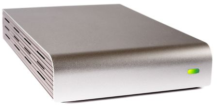 external hard disk drive: External box for hard disk drive over white background
