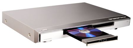 DVD player with open disk tray isolated on the white Stock Photo