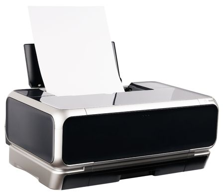 Ink-jet printer with paper loaded isolated on the white