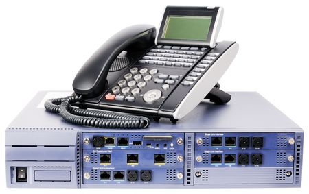 Desktop phone switch system and digital telephone set isolated on white