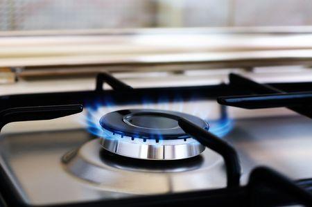 gas cooker: Grabadora de cocina de gas de acero inoxidable, enfoque selectivo