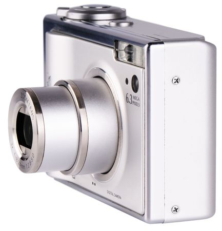 Modern digital photo camera with zoom lens isolated on white