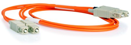 Orange optical data cable over white background Stock Photo