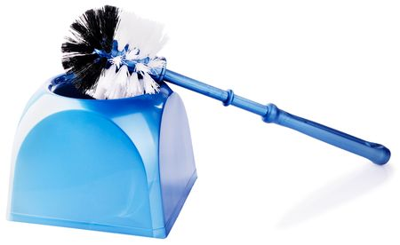 Toilet cleaning brush kit over white background