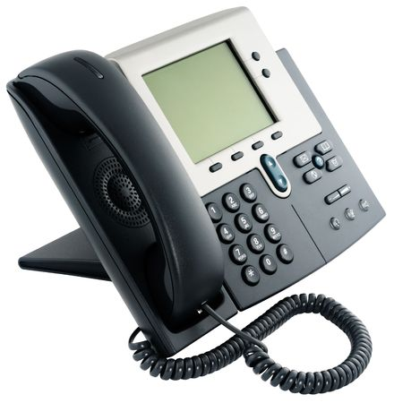 Office digital telephone set with LCD isolated on the white