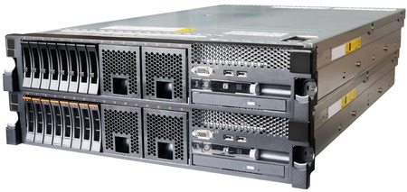 Two stacked rack mount servers isolated on the white