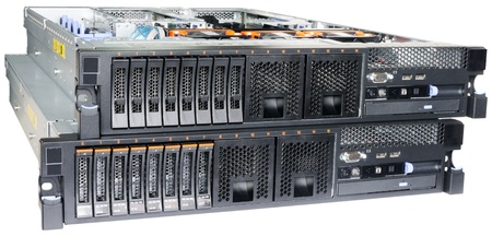 Two rack mount servers  isolated on the white