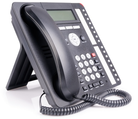 Office IP multi-button telephone set over white background Stock Photo - 8605049